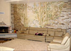 роспись в гостиной, коттедж с.Козин
