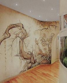 Настенная роспись - фрески в интерьере гостиной